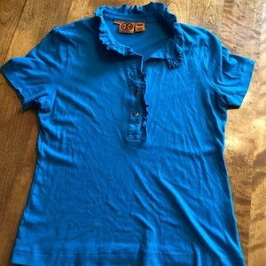 L Tory Burch Emily ruffle polo style shirt